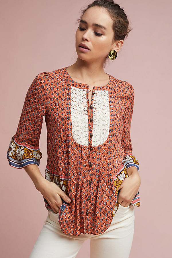 Hiver Blouse - Orange Motif, Size Uk 8