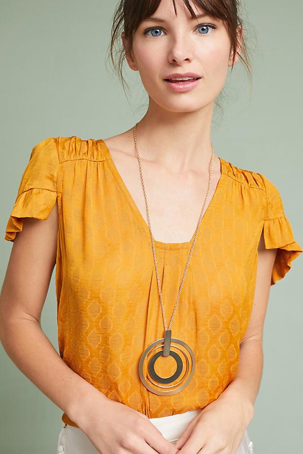 Hailey Flutter-Sleeve Top - Gold, Size M