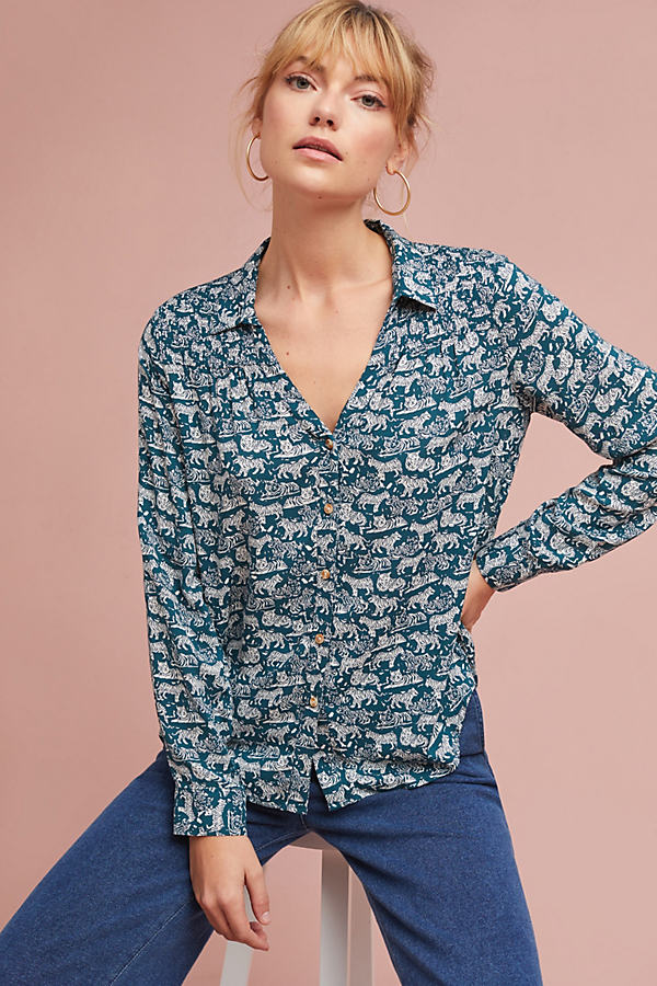 Amara Printed Blouse - Turquoise, Size Uk 6