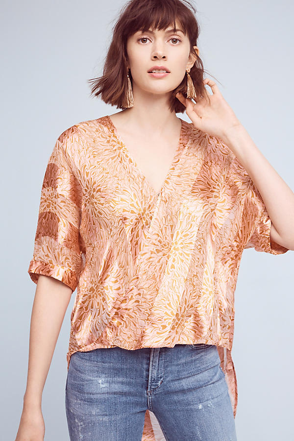 Slide View: 1: Satin High-Low Blouse