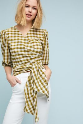 WHIT   WHIT Gingham Wrapped Blouse  -    GREEN MOTIF