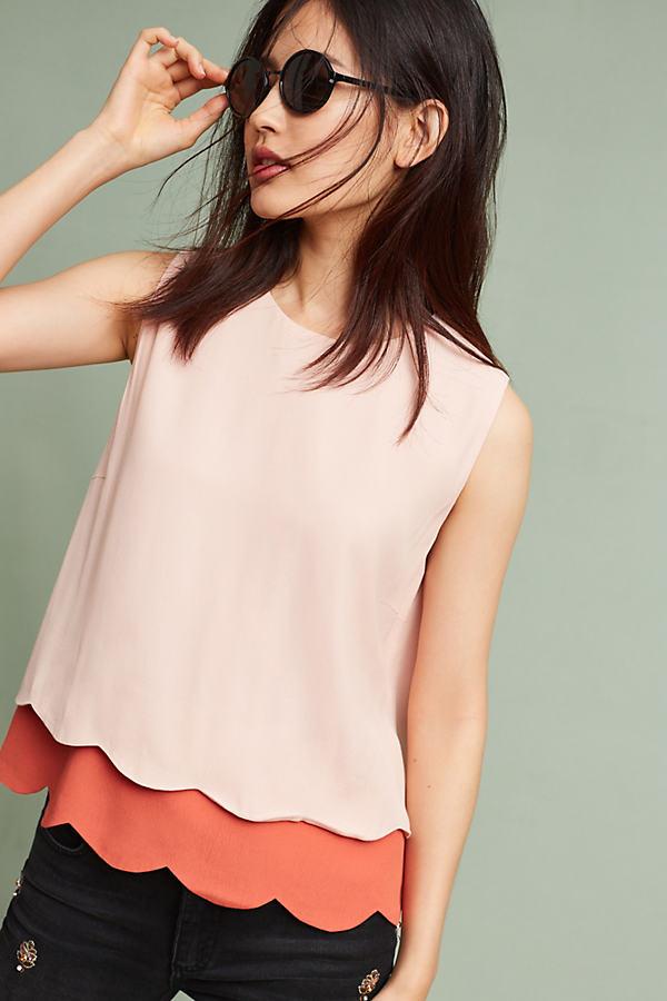 Marja Layered Scallop Tank, Pink - Pink, Size Xl