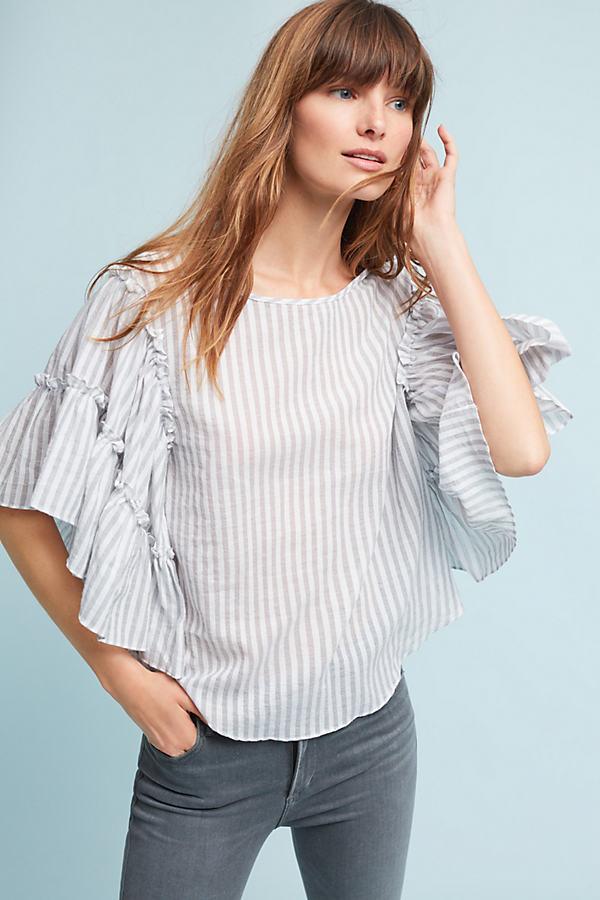 Jacqui Ruffled Top, Grey - Grey Motif, Size Xs