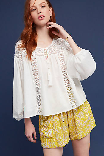 Tassels & Lace Peasant Blouse