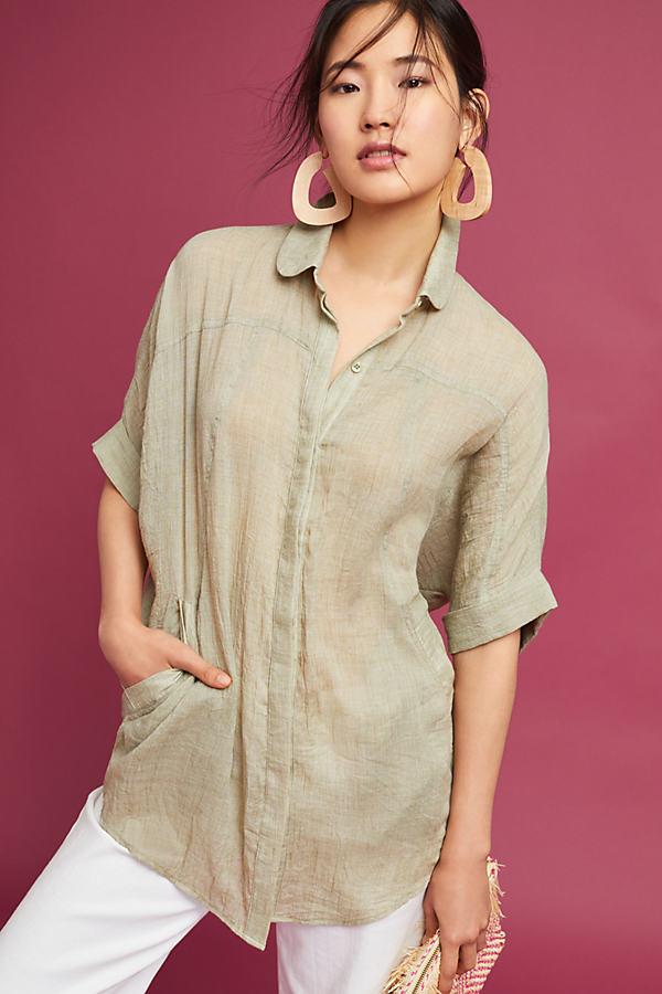 Darylle Longline Shirt, Moss - Moss, Size M