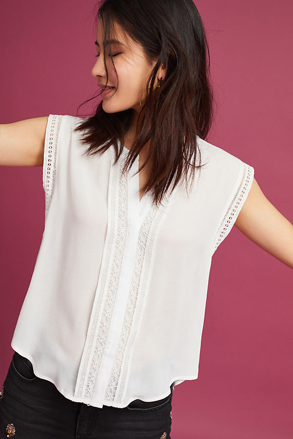 Bayley Lace Blouse, White - White, Size Xs