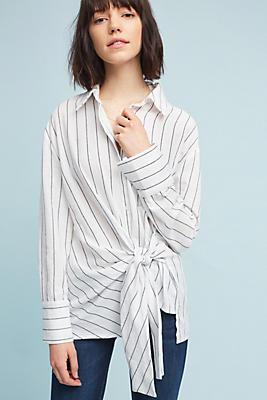 Slide View: 1: Striped Tie-Front Buttondown
