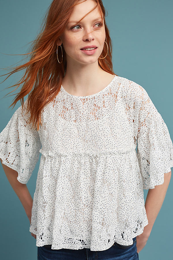 Angie Dotted Lace Babydoll Top, White - White, Size M