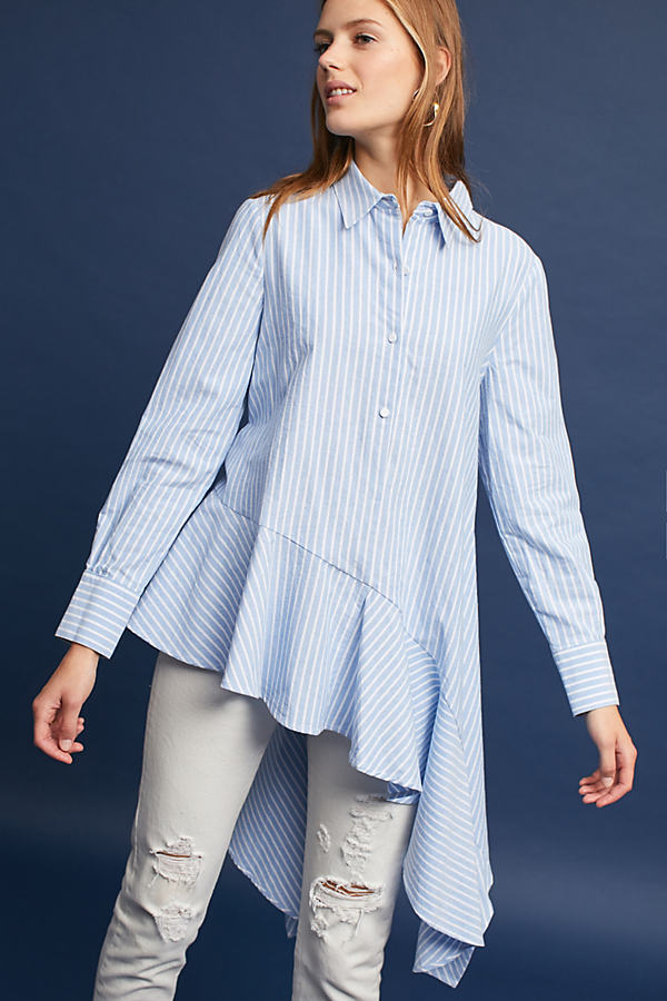 Hailey Asymmetrical Striped Buttondown - Blue Motif, Size S