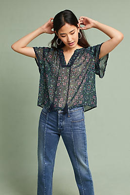 Slide View: 1: Leigh Floral Tie-Front Shirt