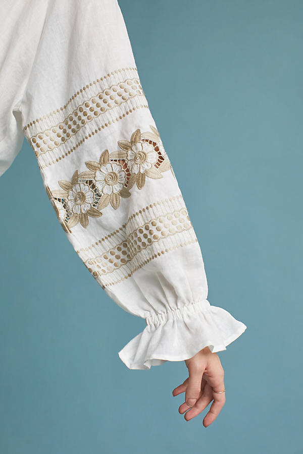 Slide View: 2: Embroidered Linen Peasant Top