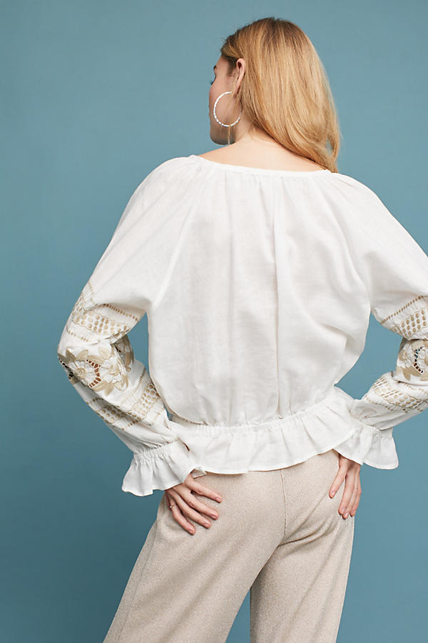 Slide View: 3: Embroidered Linen Peasant Top
