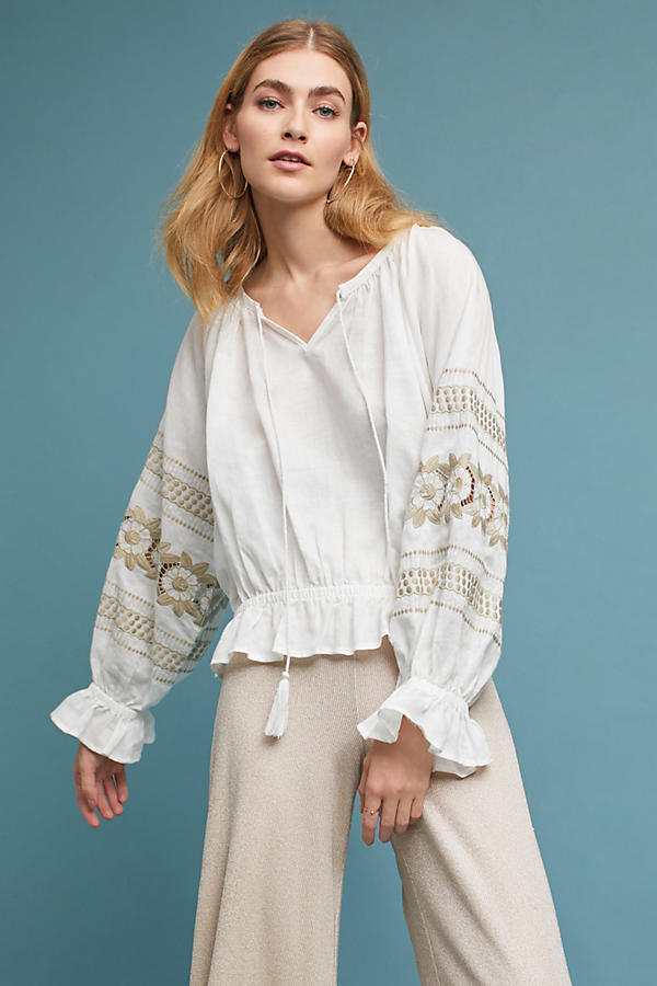 Slide View: 1: Embroidered Linen Peasant Top