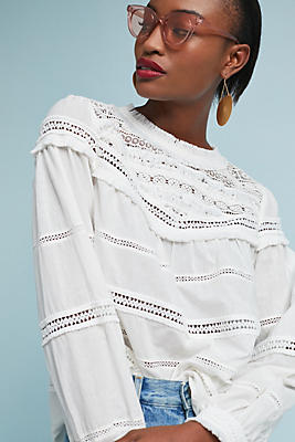 Slide View: 1: Textured Lace Blouse