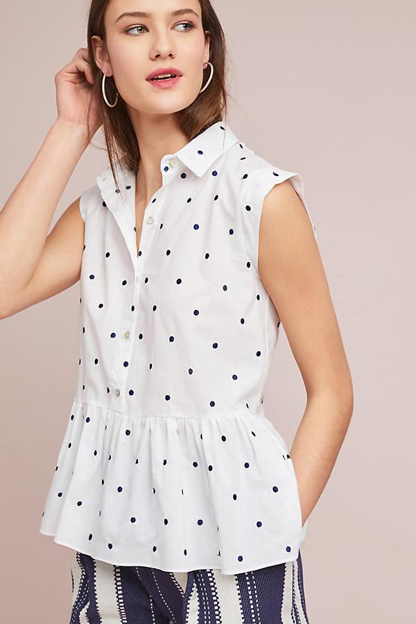 Polka Dot Peplum Top - White, Size Xl
