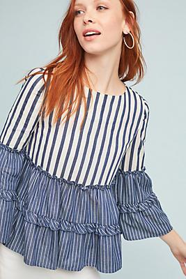 Slide View: 1: Mixed-Stripe Blouse