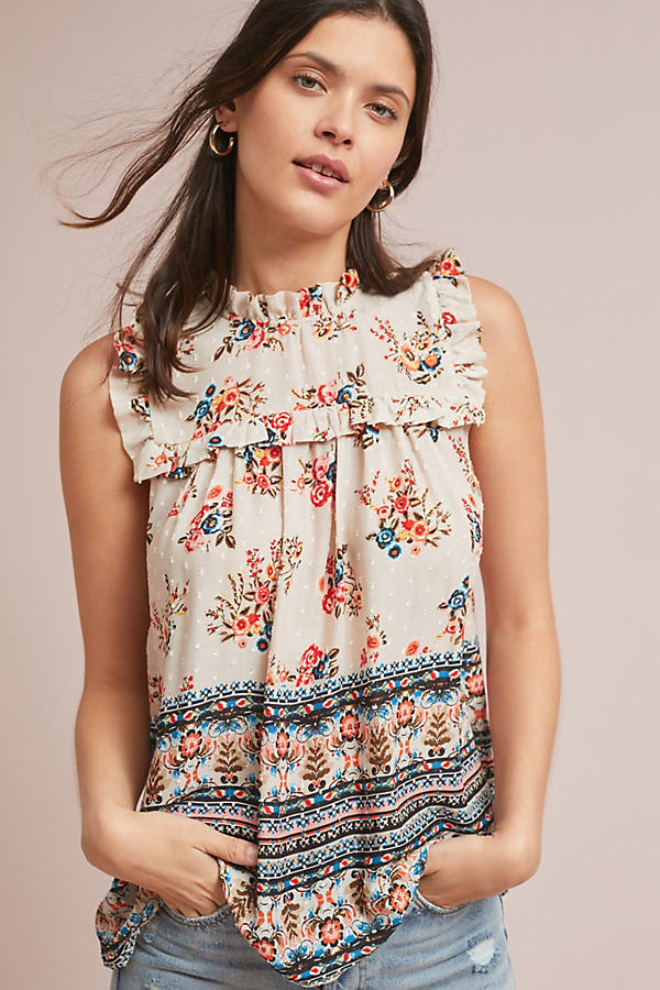 Keely Ruffled-Printed Top - Assorted, Size M