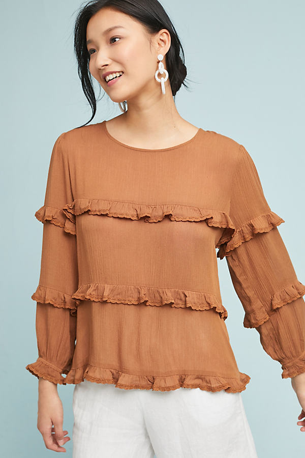 Penhors Ruffled Top - Brown, Size L