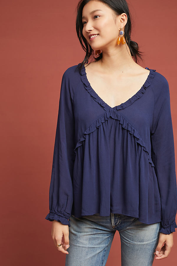 Guilvinec Ruffled Top - Blue, Size Xs