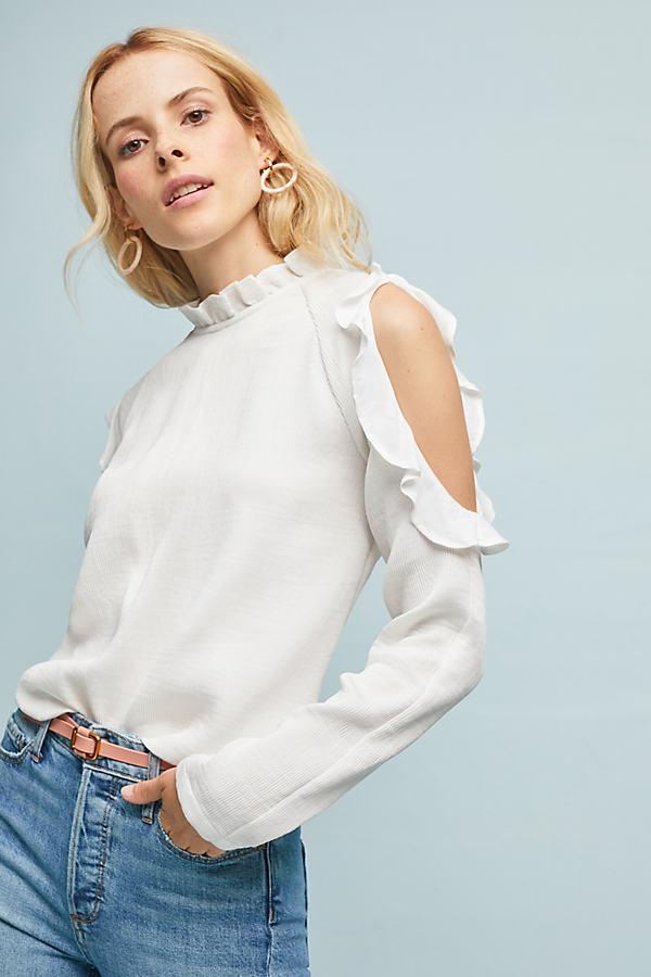 Antrim Open-Shoulder Blouse - White, Size S