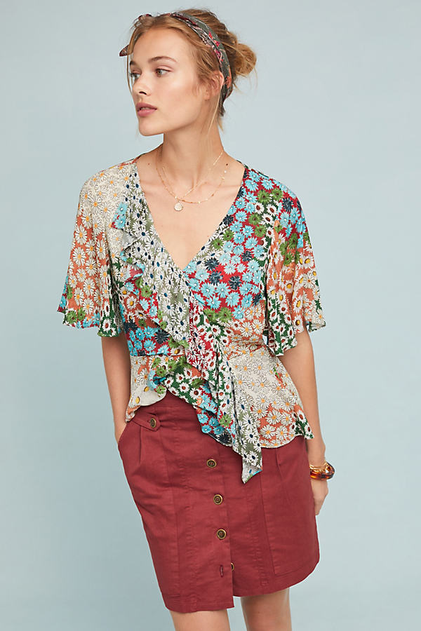 Floral Patchwork Blouse - Assorted, Size S