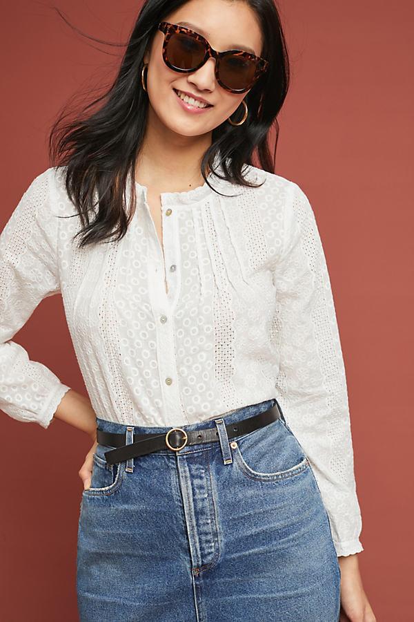 Pleated Eyelet Shirt - White, Size M