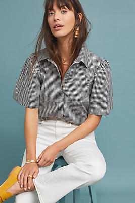 Slide View: 1: Brittany Gingham Blouse