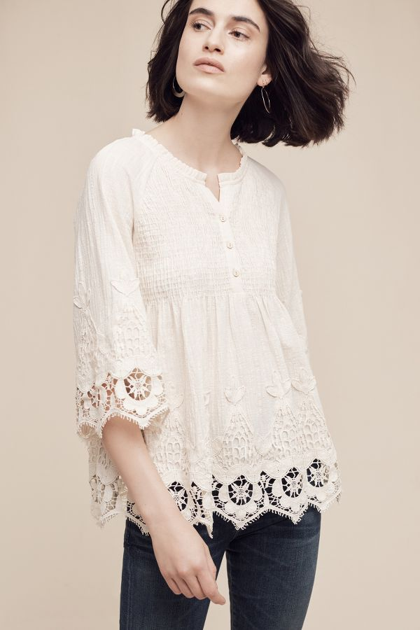 Eri + Ali Smocked Lace Top