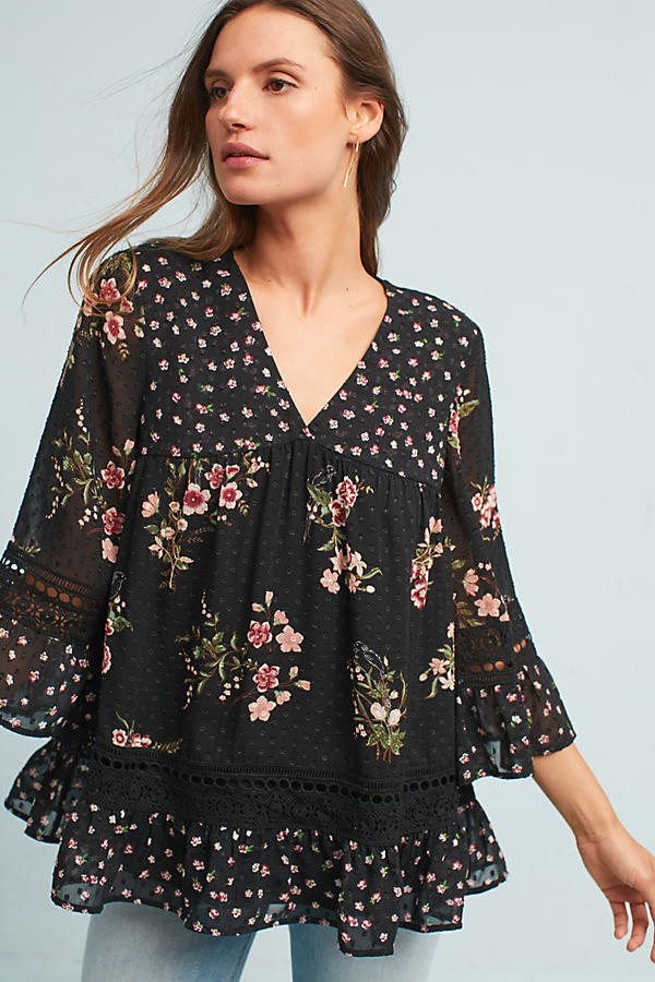 Steffy Bell-Sleeved Blouse, Black - Black, Size S