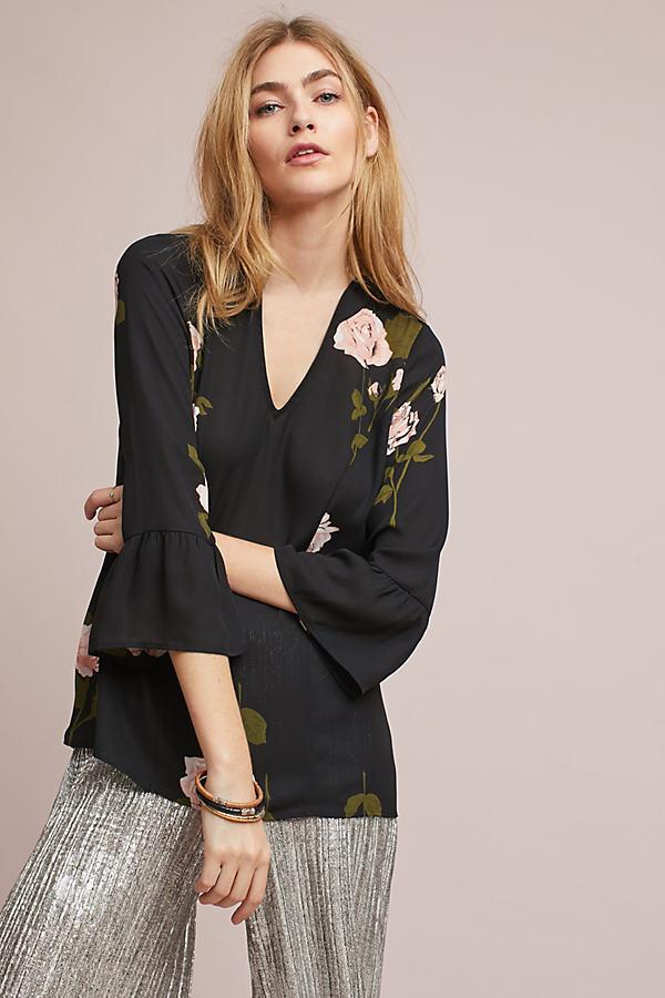 Veronique Floral Peplum Top - Black, Size S