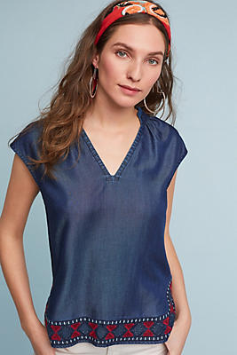 Slide View: 1: Embroidered Chambray Top