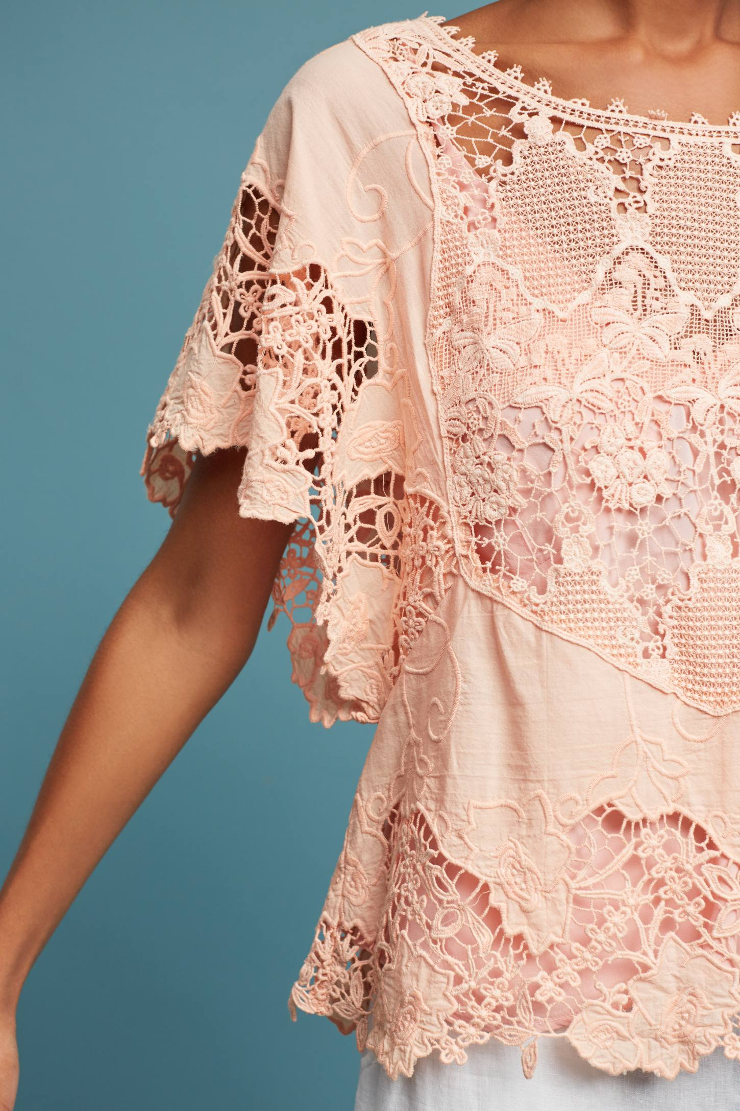 Slide View: 2: Victoria Lace Top, Pink