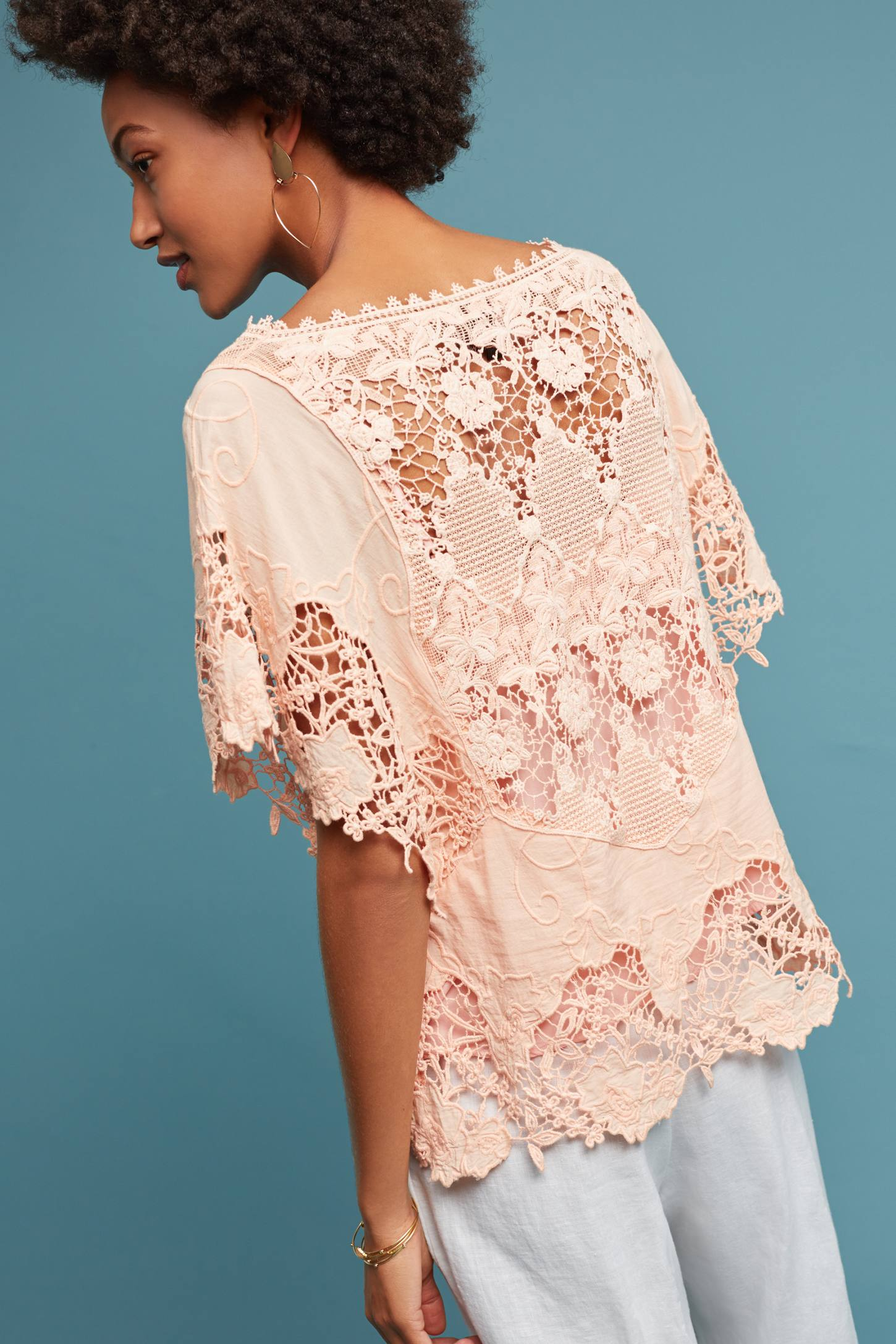 Slide View: 3: Victoria Lace Top, Pink