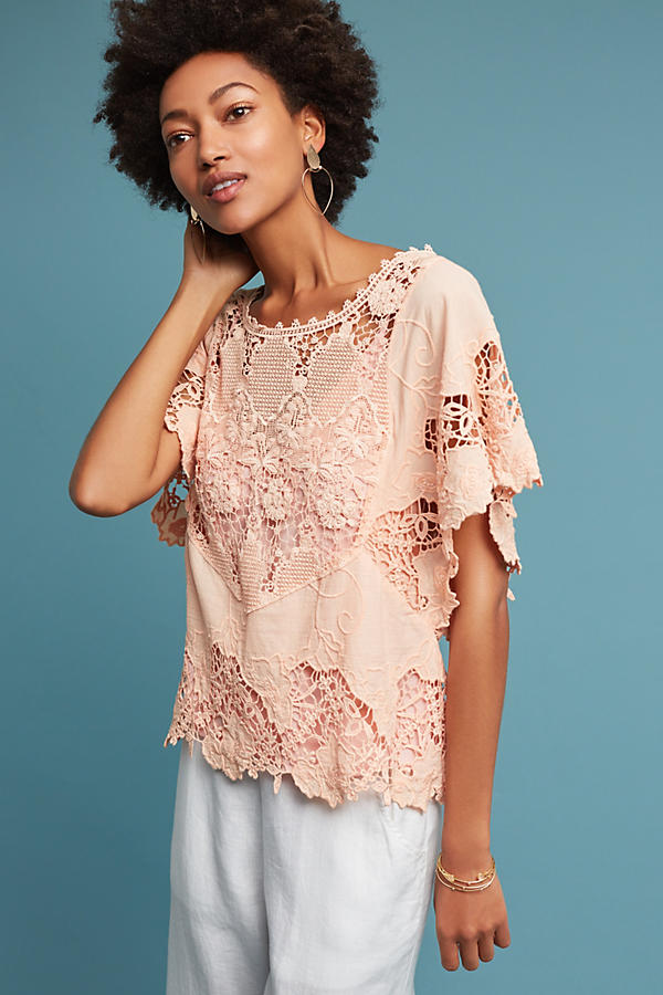 Slide View: 1: Victoria Lace Top, Pink