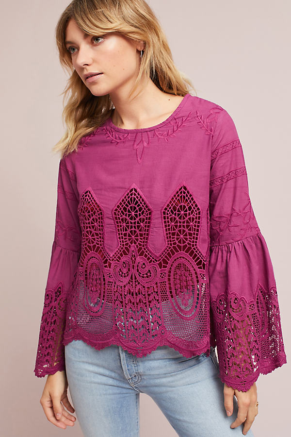 Oriana Bell-Sleeved Top, Raspberry - Raspberry, Size Xl