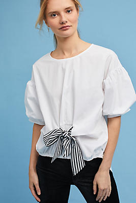 Slide View: 1: Poplin Bow Blouse