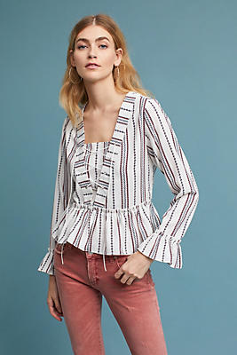 Slide View: 1: Dotted & Striped Peplum Top