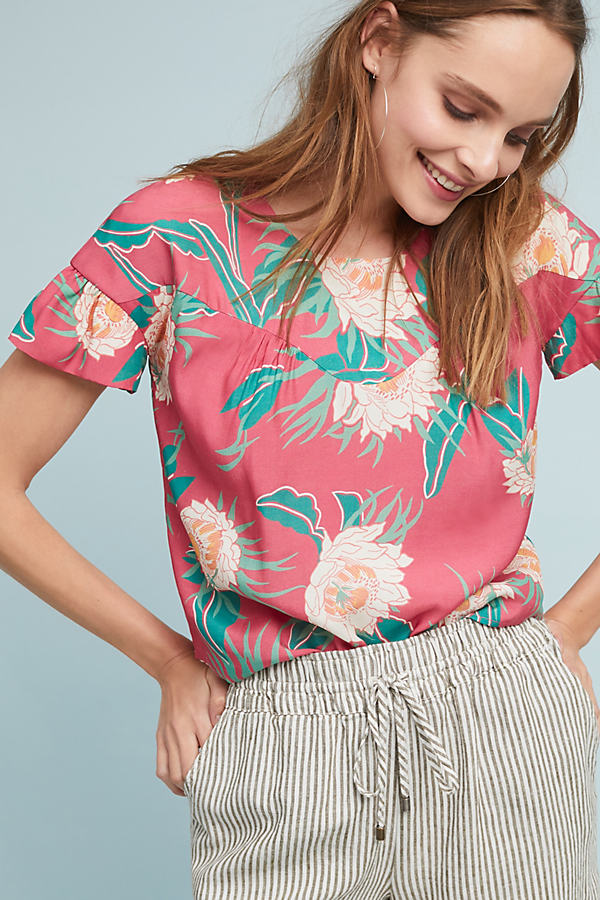 Protea Printed Top - Pink, Size Xl