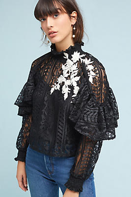 Slide View: 2: Karina Ruffled Blouse