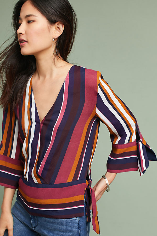 Striped Wrap Top - Purple Motif, Size L