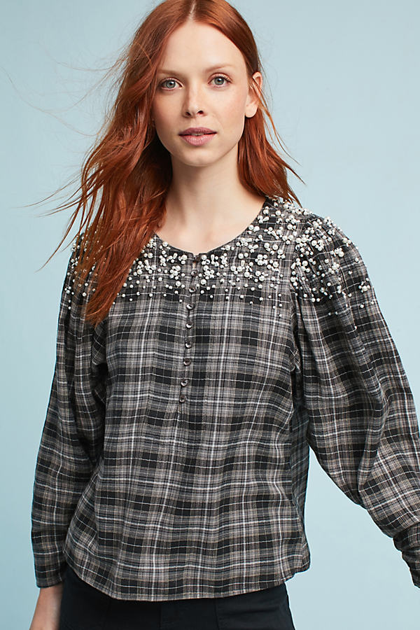 Yaritza Embellished Flannel Shirt, Black - Black, Size Xl