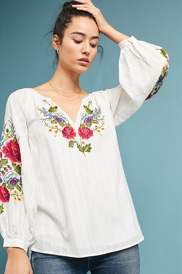 Mira Embroidered Peasant Blouse - White, Size Xl