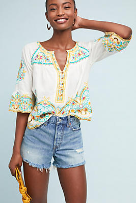 Slide View: 1: Bisbee Embroidered Top
