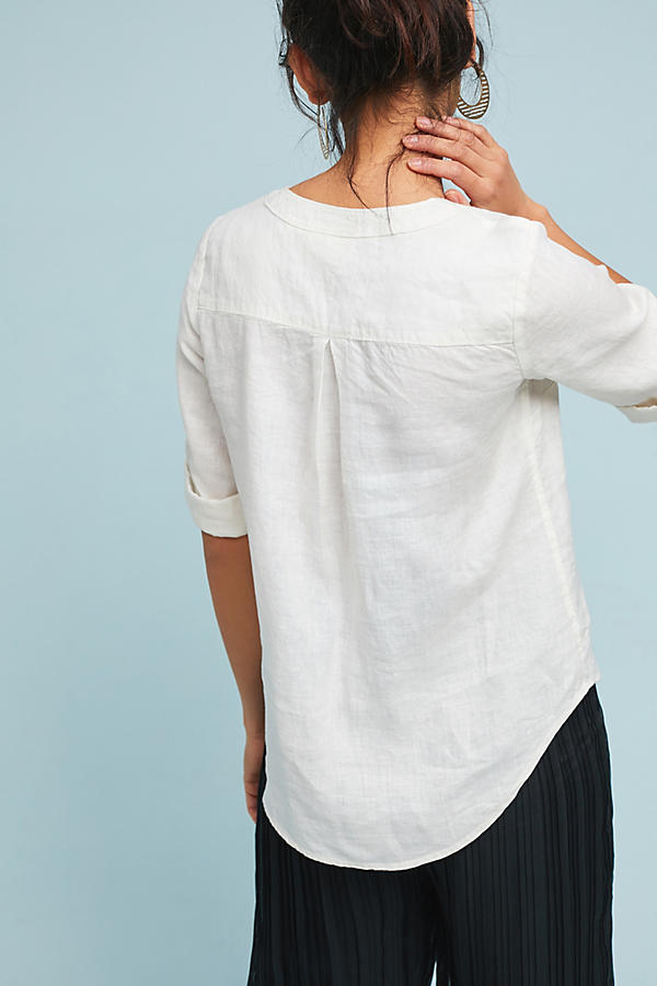 Slide View: 2: Linen Lace-Up Blouse
