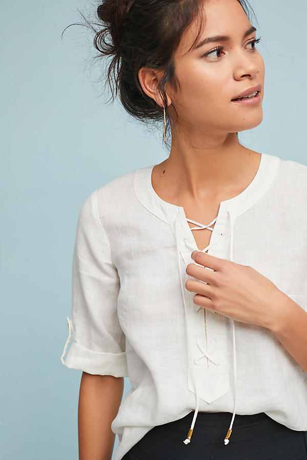 Slide View: 3: Linen Lace-Up Blouse