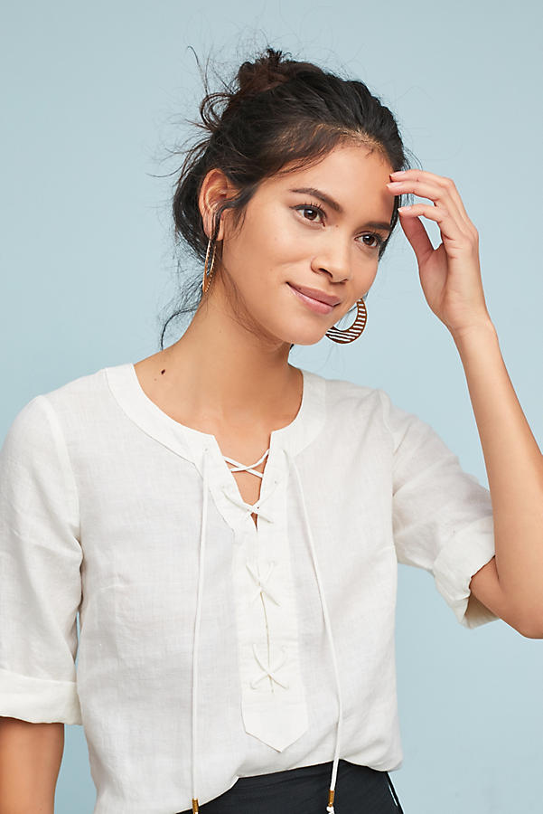 Slide View: 1: Linen Lace-Up Blouse