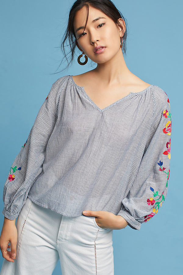 Embroidered Soleil Top, Silver - Silver, Size M
