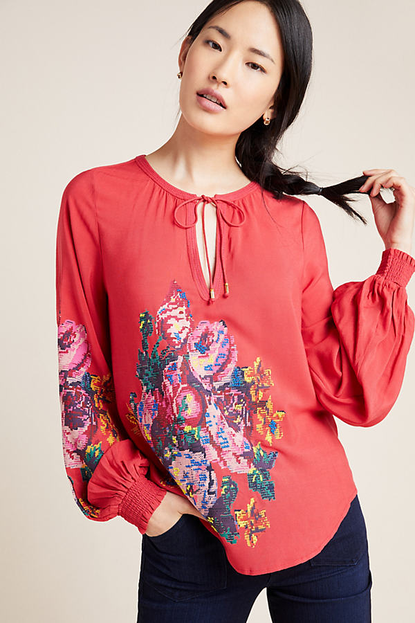 Monica Embroidered-Peasant Blouse - Assorted, Size Xl
