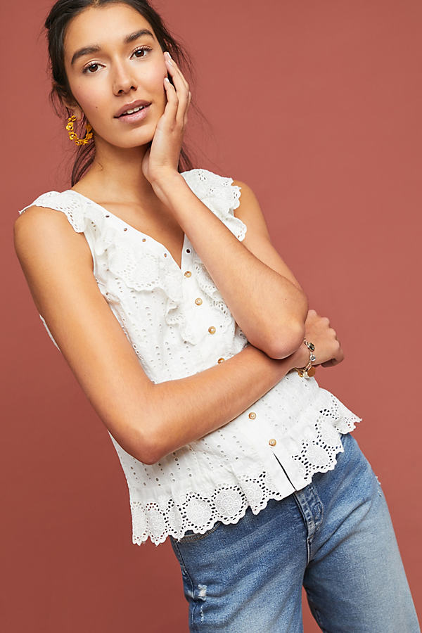 Melanie Eyelet Blouse - White, Size Uk 16