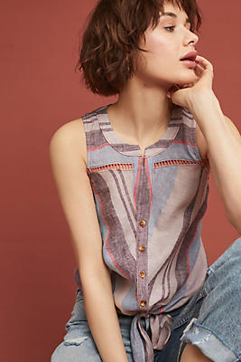 Slide View: 1: Linen Yarn-Dyed Sleeveless Buttondown
